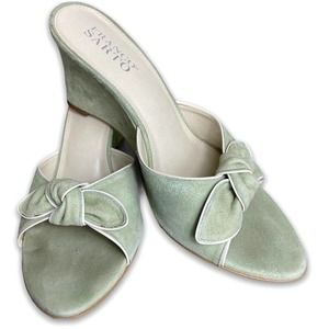 Franco Sarto Green Suede Knot Bow Wedge Slides Size 8